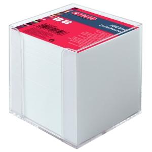 Notizzettel-Box Herlitz 10410801, mit 700 Blatt weiß, Maße: 9x9cm, transparent