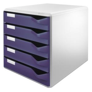 Schubladenbox Leitz 5280, 5 Schubladen, lichtgrau/blau