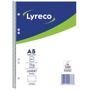 Collegeblock Lyreco, A5, liniert, 70g, 6fach gelocht, 80 Blatt