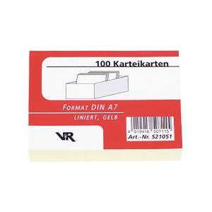 Karteikarten A7, liniert, m. grauer Kopflinie, gelb, 100 Stück
