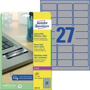 Typenschild-Etiketten Avery Zweckform L6011-20 63,5x29,6mm si 20 Blatt/540 Stück