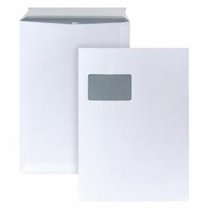 Versandtaschen C4, mit Fenster, Haftklebung, 90g, weiß, 250 Stück