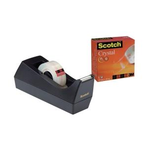 Tischabroller Scotch, inklusive 1 Rolle Crystal, 19mm x 8,9m, schwarz
