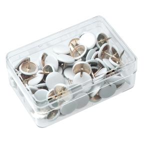 Reißnägel Alco 151, Durchmesser: 9mm, vermessingt, weiß lackiert, 100 Stück