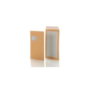Versandtaschen mit Papprückwand, C4, mit Fenster, HK, 120g, braun, 200 Stück