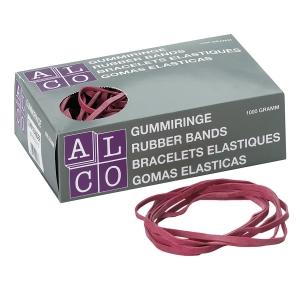 Gummibänder Alco 763, Durchmesser: 125mm, Maße: 200 x 6mm, rot, 1000g