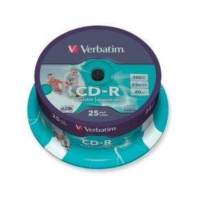 CD-R Verbatim 43439, 700MB, 80Min, 52x, bedruckbar, Spindel mit 25 Stück