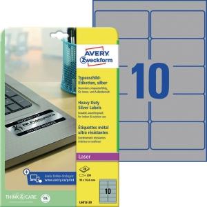 Typenschild-Etiketten Avery Zweckform L6012-20 96x50,8mm silb 20 Blatt/200 Stück