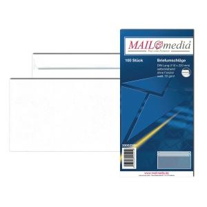 Briefumschläge DIN lang, ohne Fenster, Selbstklebung, 75g, weiß, 100 Stück