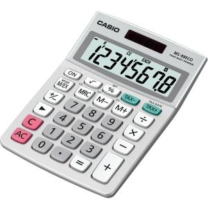 Tischrechner Casio MS-88 Eco, 8stellig, Solar-/Batteriebetrieb, silber