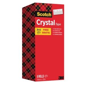 Klebefilm Scotch Crystal 6-1933R8, 19 mm x 33m, kristallklar, 8 Rollen Klebefilm