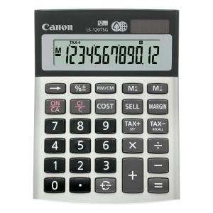 Tischrechner Canon LS-120TSG, 12-stellig, Solar/Batterie, silber