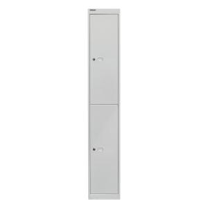 Schließfachschrank Bisley, 2 Fächer, Maße: 1.802 x 305 x 305mm, lichtgrau