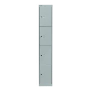 Schließfachschrank Bisley, 4 Fächer, Maße: 1.802 x 305 x 305mm, lichtgrau