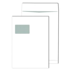 Faltentaschen Blessof 30007635 C4 229x324mm 20mm-Falte mit Fenster HK weiß 100St