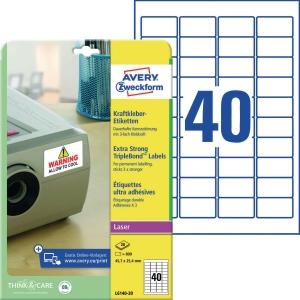 Kraftkleber-Etiketten Avery Zweckform L6140-20 45,7x25,4mm we 20 Blatt/800 Stück