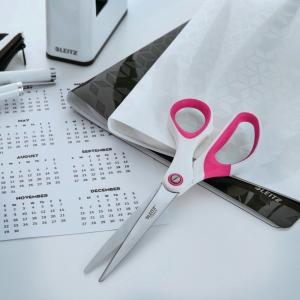 Schere Leitz 5319, Länge: 20,5 cm, Stahl, ergonomischer Griff, pink metallic