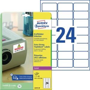 Kraftkleber-Etiketten Avery Zweckform L6141-20 63,5x33,9mm weiß 20 Bl/480 Stück