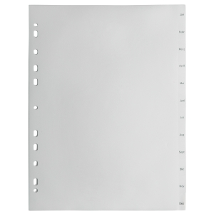 Register Lyreco Budget Jan-Dez, A4, aus Kunststoff, 12 Blatt, grau