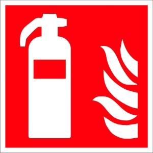Brandschutzzeichen Gloria Feuerlöscher, lang nachleuchtend, 15 x 15cm, rot/weiß