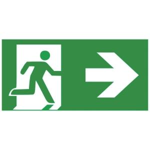 Rettungszeichen Gloria Rettungsweg Rechts, lang nachleuchtend, grün/weiß