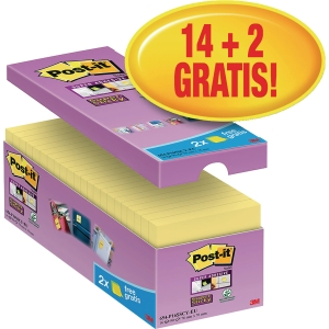 Haftnotizen Post-it Super Sticky 65416SYP, 76x76mm, 14x90Blatt (2 Blöcke GRATIS)