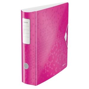 Ordner Leitz 1106 WOW, PP-kaschiert, A4, Rückenbreite: 82mm, pink metallic