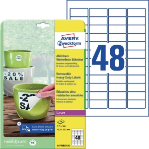 Folien-Etiketten Avery Zweckform L4778REV-20 45,7x21,2mm we 20 Blatt/960 Stück