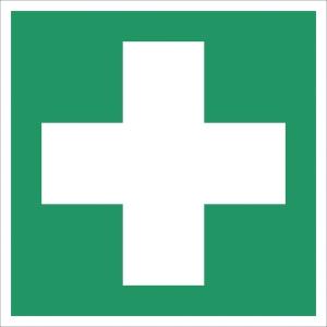Rettungszeichen Gloria Erste Hilfe, Folie, 15 x 15cm, grün/weiß