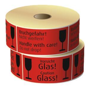 Etiketten 69005 Aufdruck: Vorsicht Glas, Maße: 145 x 70 mm, 500 Stück