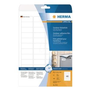 Outdoor-Folienetiketten Herma 9531, 45,7 x 21,2mm (LxB), weiß, 10 Stück