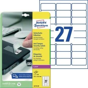 Sicherheits-Etiketten Avery Zweckform L6114, 63,5x29,6mm (LxB), weiß, 20Bl/540St