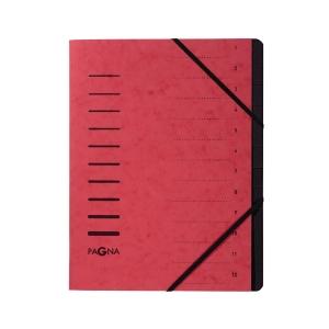 Ordnungsmappe Pagna 40059, 12 Fächer, mit Gummizug, rot