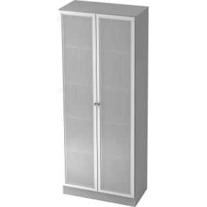Schrank mit Glastüren, Maße: 200,4 x 80 x 42 cm, grau