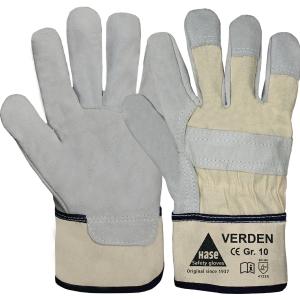 Handschuhe Hase Verden, Leder Größe 10, grau/beige, 1 Paar