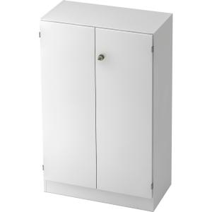 Schrank mit Holztüren, 2 Böden, Maße: 80x127x42cm, weiß
