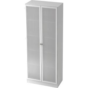 Schrank mit Glastüren, 4 Böden, Maße: 80x200,4x42cm, weiß