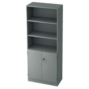 Regal mit kleinen Türen, 2 Böden, Maße: 80x200,4x42cm, grau, Desktopservice