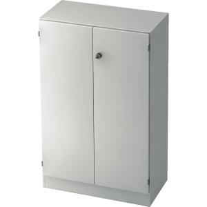 Schrank mit Holztüren, 2 Böden, Maße: 80x127x42cm, weiß, Desktopservice