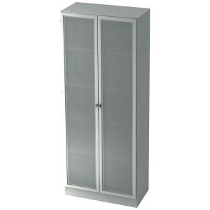 Schrank mit Glastüren, 4 Böden, Maße: 80x200,4x42cm, weiß, Montageservice