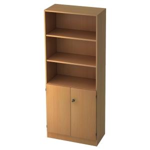 Regal mit kleinen Türen, 2 Böden, Maße: 80x200,4x42cm, buche, Montageservice