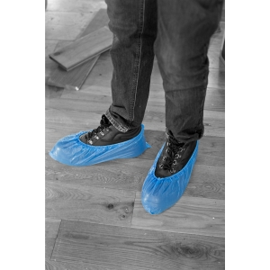 BX2000 PAIRS  PE DISPOSEABLE OVERSHOES - BLUE