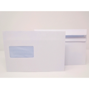 LYRECO ENVELOPE C5 WALLET 90G SELF SEAL WITH WINDOW WHITE PACK OF 500