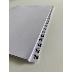 Tab Dividers 1-20 Laminated Unpunched A4 Pk25