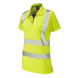 Leo PL03 Ladies High Visibility Polo Shirt Yellow Size Medium