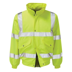 HIGH VISIBILITY FLEECE LINED BOMBER JACKET YELLOW SIZE LARGE