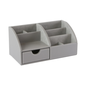 Osco Grypudo1 Desk Organiser Faux Leather Grey