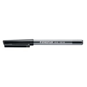 STAEDTLER STICK 430 BALL POINT BLACK PENS 0.7MM LINE WIDTH - BOX OF 10