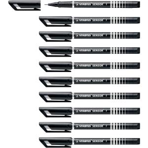 STABILO SENSOR 189 FINELINER BLACK PENS 0.3MM LINE WIDTH - BOX OF 10