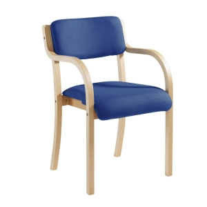 WOOD-FRAMED CONFERENCE CHAIR WITH ARM RESTS - BLUE